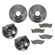 96-00 Town & Country, Caravan, Voyager Front Hubs, Ceramic Brake Pads, Brake Rotors Kit