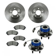 01-07 Buick, Chevy, Olds, Pontiac Multifit Front Hubs, Ceramic Brake Pads, Brake Rotors Kit
