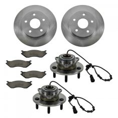 02-05 Dodge Ram 1500 4 Wheel ABS Front Hubs, Ceramic Brake Pads, Brake Rotors Kit