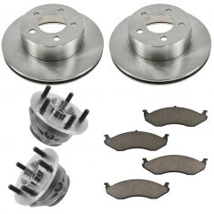 90-98 Jeep Multifit Front Hubs, Ceramic Brake Pads, Brake Rotors Kit
