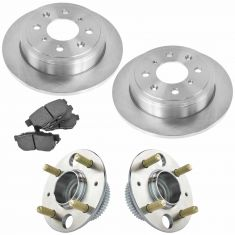 90-01 Acura, Honda Multifit Rear Hubs, Ceramic Brake Pads, Brake Rotors Kit