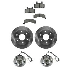 95-00 Cadillac, Chevy, GMC Pickup SUV 4WD Multifit Front Hubs, Ceramic Brake Pads, Brake Rotors Kit