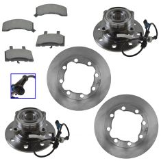 88-00 Chevy, GMC Pickup Suburban Front CERAMIC Disc Brake Pads, Rotor, & Wheel Hub Kit