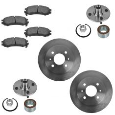94-02 Saturn S Series Front Disc Brake Rotor w/ Semi Metallic Pad & Wheel Hub & Bearing Kit
