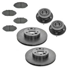 98-02 Crown Victoria Grand Marquis Town Car Brake Front Rotor Ceramic Brake Pads & Wheel Bearing