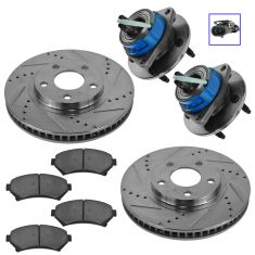 00-05 GM Multifit Front Hub, Ceramic Brake Pad & Performance Rotor Kit