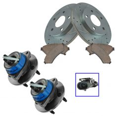 05-08 Buick, Chevy, Pontiac, Saturn Front Hub Ceramic Brake Pad Performance Rotors Kit