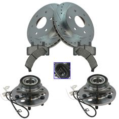 99-00  GM Pickup Van SUV Multifit Front Hubs, Premium Posi Ceramic Brake Pads, Brake Rotors Kit