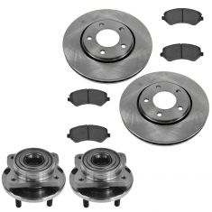 Chrysler Dodge Mini Van Multifit Front Permium Posi Brake Pad, Rotor & Hub Kit