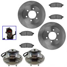 05-09 Ford F150; 06-08 Lincoln Mark LT Front Posi Ceramic Bake Pad, Rotor, & Hub Kit