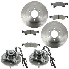 03-06 Ford Explorer; Lincoln Navigator Front Posi Ceramic Brake Pad, Rotor & Hub Kit