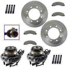 02-05 Excursion, 03-04 F-250 SD,03-04 F-350 SD Front Posi Ceramic Pads,Rotors & Hub Bearing Kit