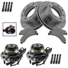 02-05 Excursion, 03-04 F350, 03-04 F250,Front Ceramic Pads, Performance Rotors & Hub Bearing Kit