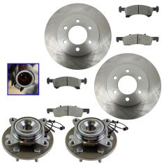 03-06 2wd Ford Explorer; Lincoln Navigator Front Posi Ceramic Brake Pad, Rotor & Hub Kit