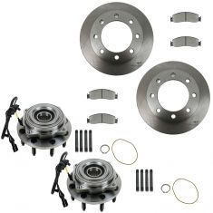 05-10 F-250 SD,05-10 F350 SD Front Ceramic Brake Pads, Rotors & Hub Bearing Kit Set