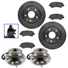 08-16 Town & Country,08-16 Grand Caravan,09-12 Front Ceramic Brake Pads,Rotors & Hub Bearing Kit Set