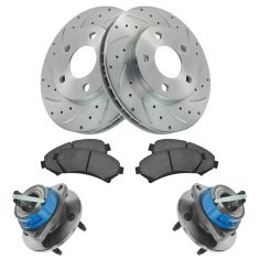 97-05 GM FWD Multifit Front Hub, Ceramic Brake Pad & Performance Rotor Kit
