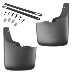 2011-16 Ford F250 F350 SRW Rear Molded Splash Guard Pair Black (w/ wheel lip moldings)