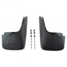08-12 Jeep Liberty Molded Blk Plastic ~Jeep~ Logoed Rear Deluxe Splash Guard Mud Flap Kit PAIR (MP)