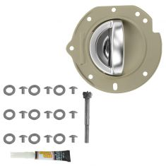02-07 Jeep Liberty Front Taupe w/Satin Chrome Inside Door Handle w/Bezel RepairKit LF