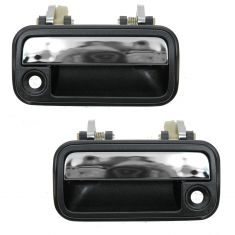 88-92 Mazda 626 Black & Chrome Outside Door Handle Front  PAIR