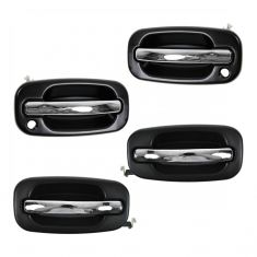 99-07 GM Full Size PU SUV Outside Chrome & Black Door Handle Set of 4