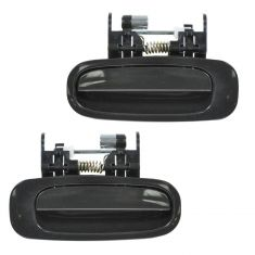 98-02 Toyota Corolla Door Handle Outside Rear Smooth Black Rear PAIR