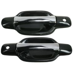 2004-08 Chevy Colorado GMC Canyon Blk & Chrme Outside Door Handle Front PAIR