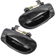 2000-06 Hyundai Accent Door Handle Outside Smooth Black Rear PAIR