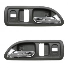 94-97 Honda Accord 2dr w/Pwr Locks Chrome & Gray Inside Door Handle PAIR