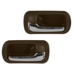 01-05 Honda Civic Rear Inner Chrome & Taupe Door Handle PAIR