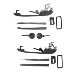 81-92 Golf, Jetta; 81-88 Quantum, Scirocco; 81-84 Rabt Front Outer Blk or Chrm Dr Handle w/Key PAIR