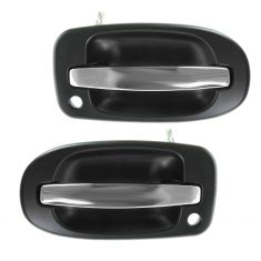 97-09 GM Mini Van Multifit Front Outer Black w/Chrome Handle w/Keyhole Door Handle PAIR