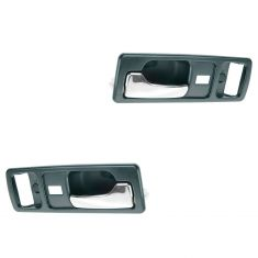 90-93 Honda Accord 2dr (w/Pwr Locks) Blue w/Chrome Lever Inside Door Handle PAIR