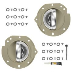 02-07 Jeep Liberty Rear Taupe w/Satin Chrome Inside Door Handle w/Bezel Repair Kit PAIR