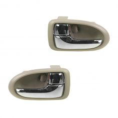 00-06 Mazda MPV Chrome & Beige Front Inside Door Handle PAIR