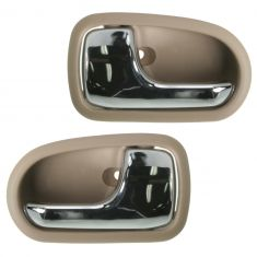 95-02 Mazda Protege Chrome & Beige Front or Rear Inside Door Handle PAIR