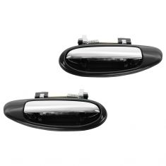 96-99 Infiniti I30; 95-99 Nissan Maxima Rear Black w/Chrome Pull Outside Door Handle PAIR