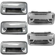 95-99 Suburban, Tahoe, Yukon CHROME Front & Rear, & Tailgate Outside Door Handle (Set of 5)
