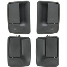 00-05 Ford Excursion; 99-13 F250-F550 Super Duty Text Black Front & Rear Door Handle Kit (Set of 4)