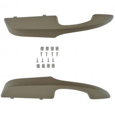 03-14 Chevy Express, GMC Savana Van Front Door Neutral Inner Armrest/Pull Handle Cover & Base PAIR
