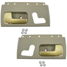 03-12 Lincoln Town Car w/o Heated Seats Front Inside Beige & Gold Door Handle Pair