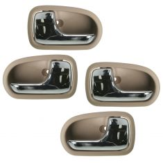 95-03 Mazda Protege Chrome & Beige Front & Rear Inside Door Handle Kit (Set of 4)
