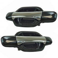 04-12 Chevy Colorado GMC Canyon Crew Cab Chrome & Black Rear Outside Door Handle Pair