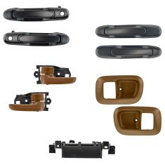 98-03 Toyota Sienna PTM Exterior Door Handle / Liftgate Handle & Oak Brown Interior Handle Kit