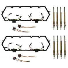 95-98 Ford E350; 94-97 F250, F350 Valve Cover Gasket w/4 Injector Harnesses & 8 Glow Plug Kit