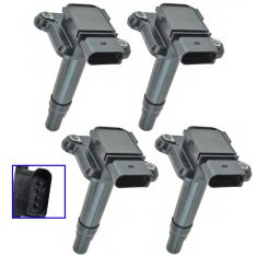 99-04 Audi A4, A6, A8, RS6, S6, S8 w/1.8; 99-01 VW Multifit w/1.8L Ignition Coil Set of 4 (Delphi)