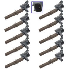 08-13 Expdtn, Nav; 08-10 Explr, F150, Mstng; 08 LT ( & Brown Boot) Ignition Coil Set of 10 (DE)