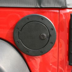 Locking Gas Cap Door, Black Aluminum, 07-14 Jeep Wrangler (JK)