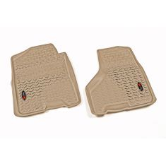 09-11 Dodge Ram 1500-3500 CrewCab w/1 Hook Tan Front Floor Liner SET (Rugged Ridge)